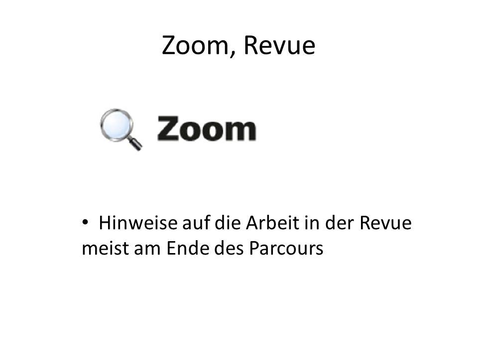 Zoom, Revue Hinweise auf die Arbeit in der Revue meist am Ende des Parcours.