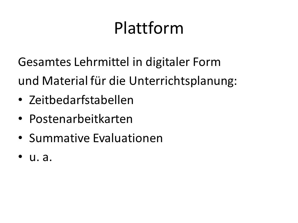 Plattform Gesamtes Lehrmittel in digitaler Form