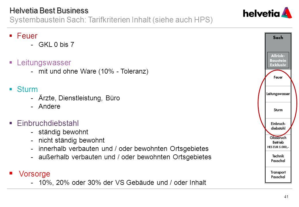 Datum Helvetia Best Business Systembaustein Sach: Tarifkriterien Inhalt (siehe auch HPS) Feuer. GKL 0 bis 7.