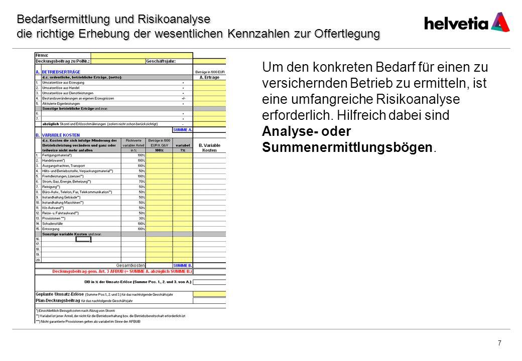 Datum Bedarfsermittlung und Risikoanalyse die richtige Erhebung der wesentlichen Kennzahlen zur Offertlegung.