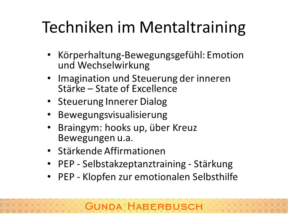 Techniken im Mentaltraining