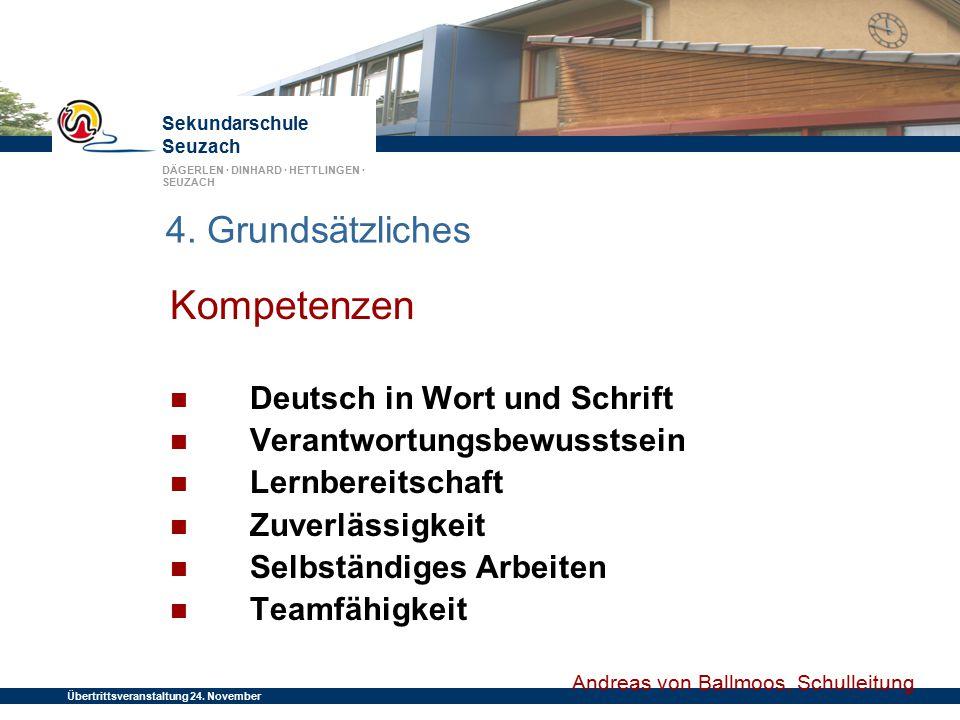Kompetenzen 4. Grundsätzliches Deutsch in Wort und Schrift