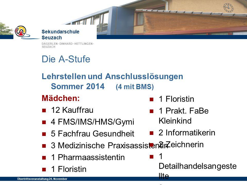 Die A-Stufe Lehrstellen und Anschlusslösungen Sommer 2014 (4 mit BMS)