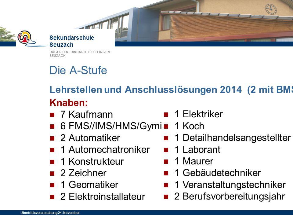 Die A-Stufe Lehrstellen und Anschlusslösungen 2014 (2 mit BMS) Knaben: