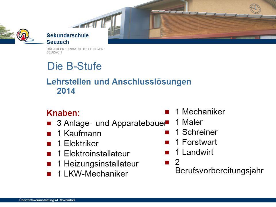 Die B-Stufe Lehrstellen und Anschlusslösungen 2014 Knaben: