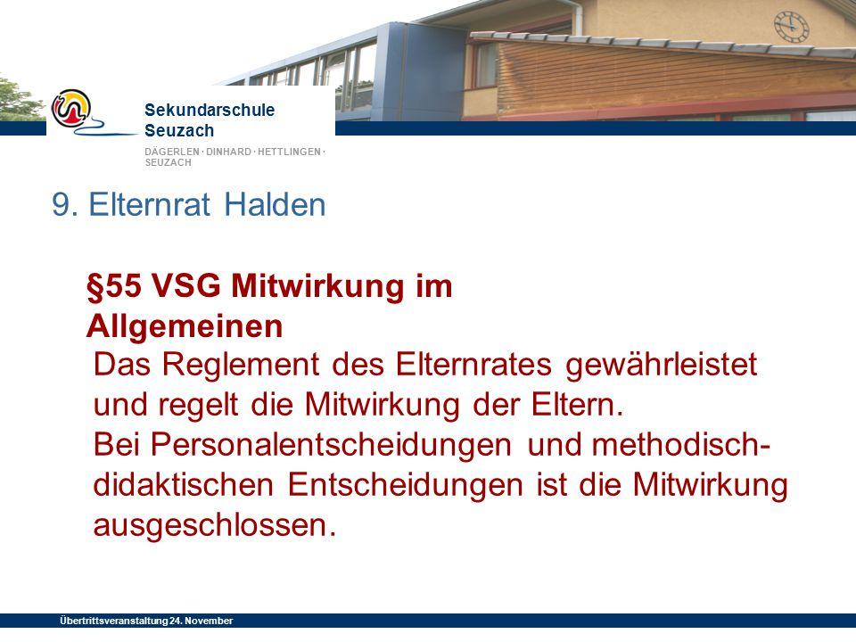 9. Elternrat Halden §55 VSG Mitwirkung im Allgemeinen.