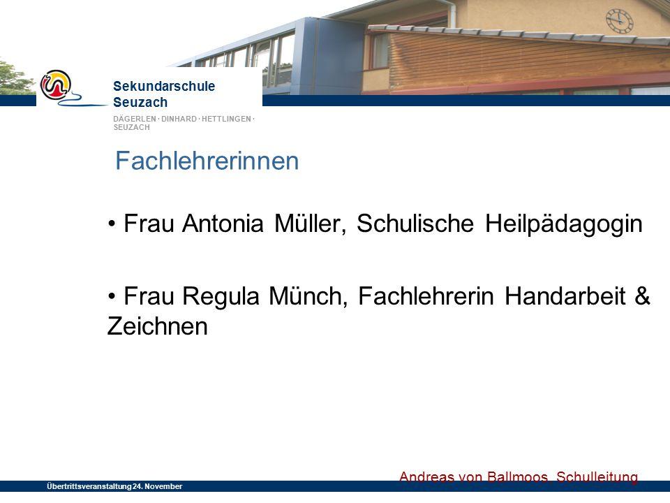Fachlehrerinnen • Frau Antonia Müller, Schulische Heilpädagogin