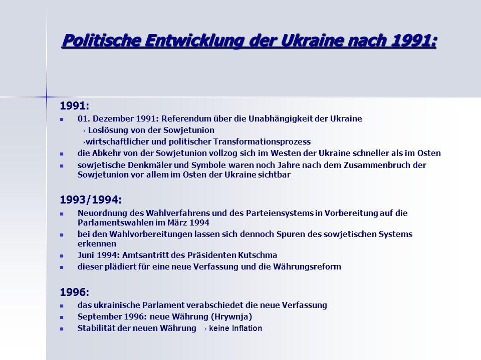 Politische Entwicklung der Ukraine nach 1991: