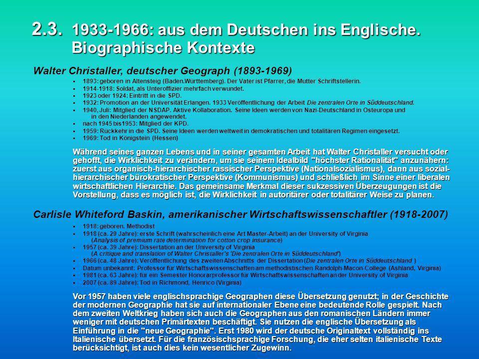2. 3. 1933-1966: aus dem Deutschen ins Englische