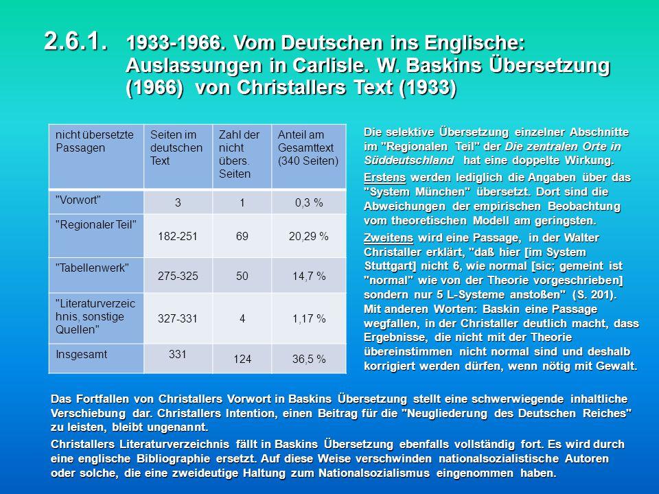 2.6.1. 1933-1966. Vom Deutschen ins Englische: Auslassungen in Carlisle. W. Baskins Übersetzung (1966) von Christallers Text (1933)