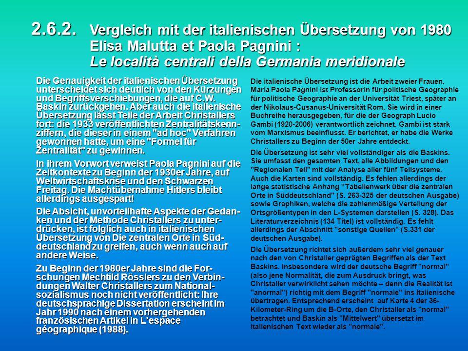 2.6.2. Vergleich mit der italienischen Übersetzung von 1980 Elisa Malutta et Paola Pagnini : Le località centrali della Germania meridionale