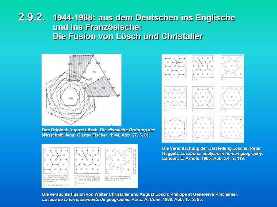 2.9.2. 1944-1988: aus dem Deutschen ins Englische und ins Französische: Die Fusion von Lösch und Christaller