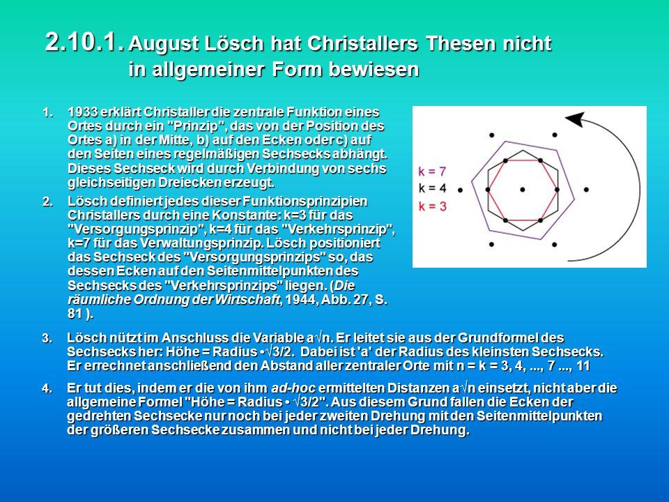 2.10.1. August Lösch hat Christallers Thesen nicht in allgemeiner Form bewiesen