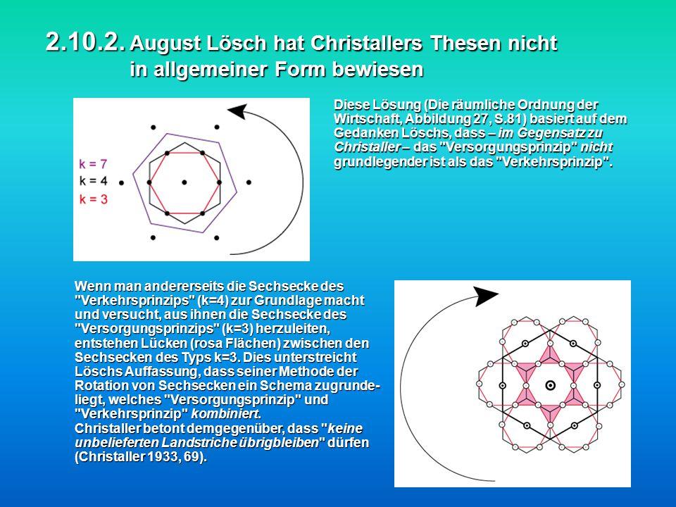 2.10.2. August Lösch hat Christallers Thesen nicht in allgemeiner Form bewiesen