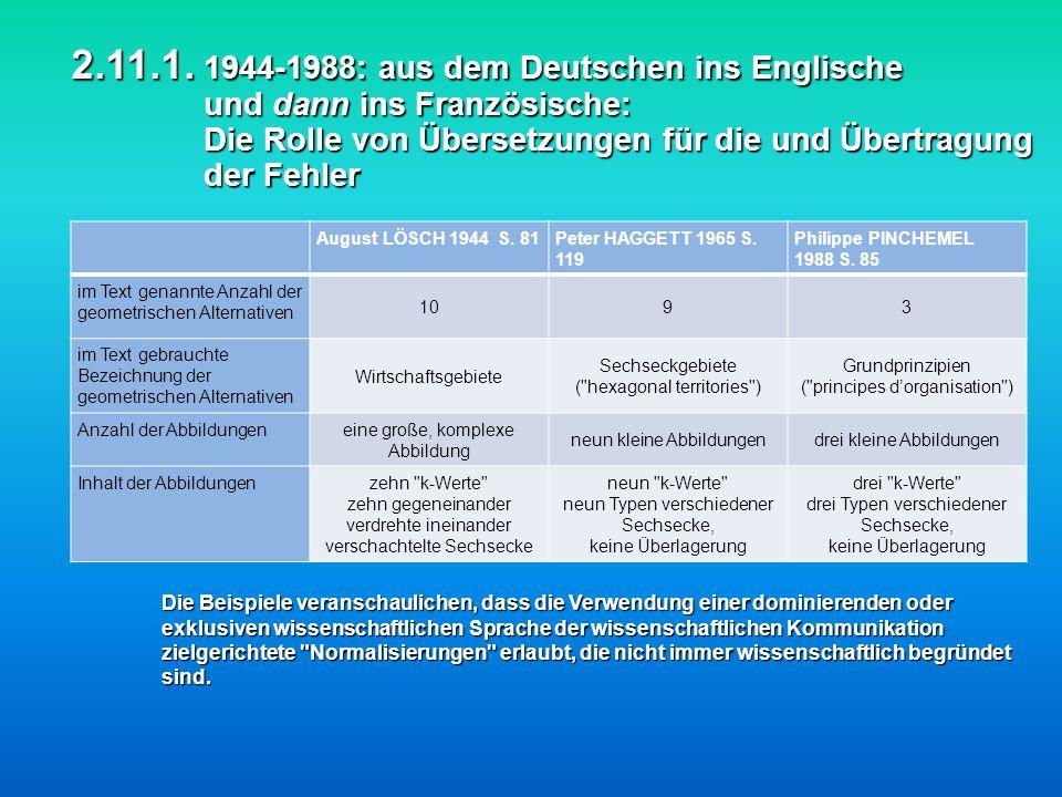 2.11.1. 1944-1988: aus dem Deutschen ins Englische und dann ins Französische: Die Rolle von Übersetzungen für die und Übertragung der Fehler