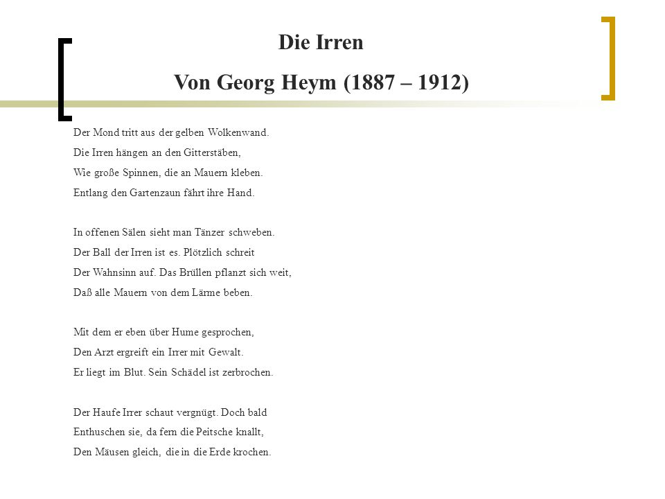 Die Irren Von Georg Heym (1887 – 1912)