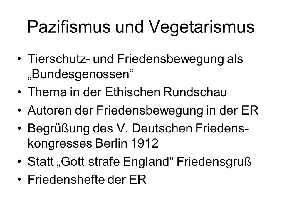 Pazifismus und Vegetarismus