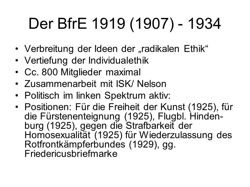 """Der BfrE 1919 (1907) - 1934 Verbreitung der Ideen der """"radikalen Ethik Vertiefung der Individualethik."""
