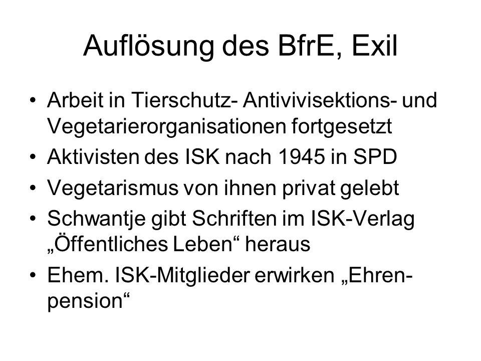 Auflösung des BfrE, Exil
