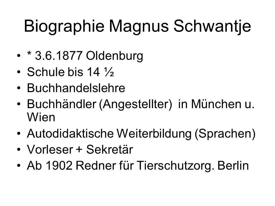 Biographie Magnus Schwantje