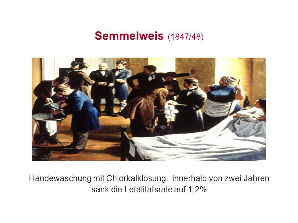 Semmelweis (1847/48) Händewaschung mit Chlorkalklösung - innerhalb von zwei Jahren.