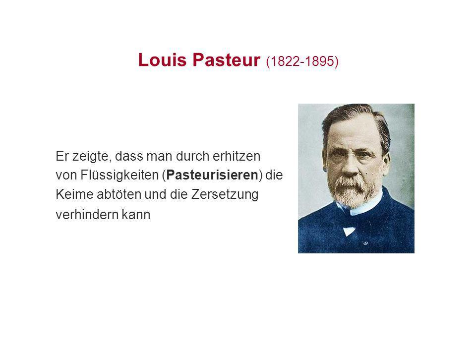 Louis Pasteur (1822-1895) Er zeigte, dass man durch erhitzen