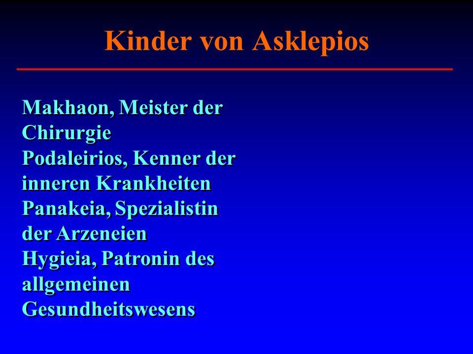 Kinder von Asklepios Makhaon, Meister der Chirurgie