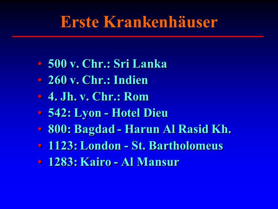 Erste Krankenhäuser 500 v. Chr.: Sri Lanka 260 v. Chr.: Indien