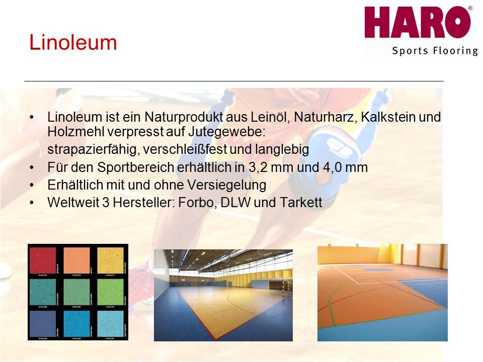 Linoleum Linoleum ist ein Naturprodukt aus Leinöl, Naturharz, Kalkstein und Holzmehl verpresst auf Jutegewebe: