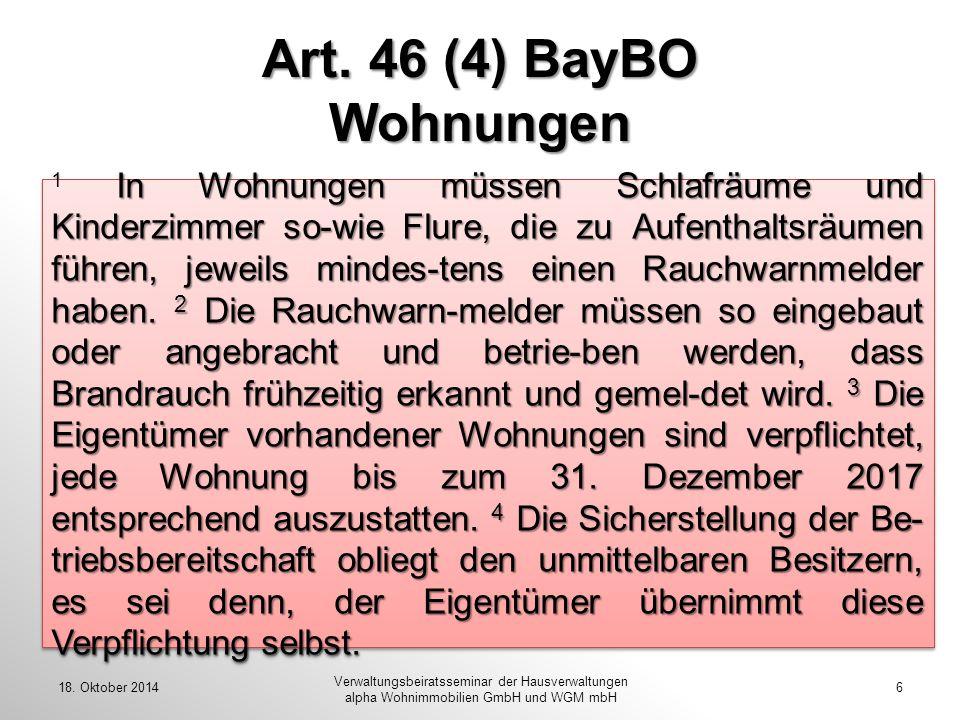 Art. 46 (4) BayBO Wohnungen