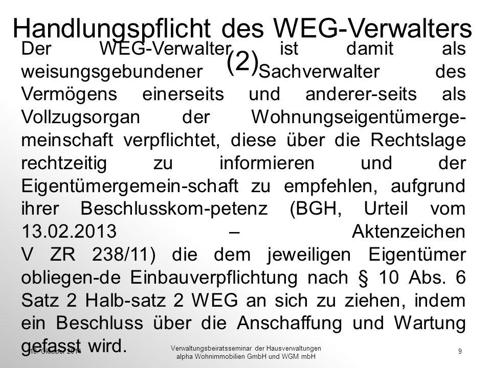 Handlungspflicht des WEG-Verwalters (2)