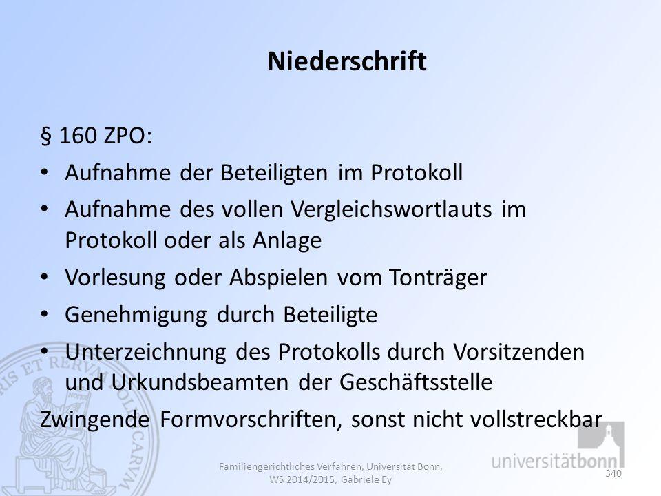 Niederschrift § 160 ZPO: Aufnahme der Beteiligten im Protokoll