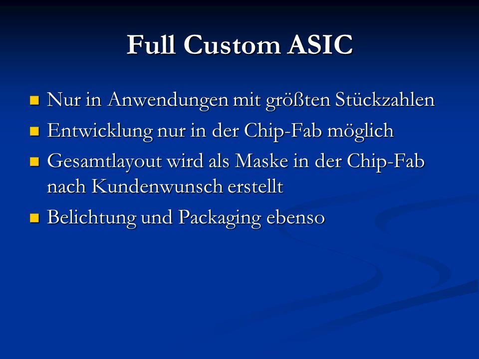 Full Custom ASIC Nur in Anwendungen mit größten Stückzahlen