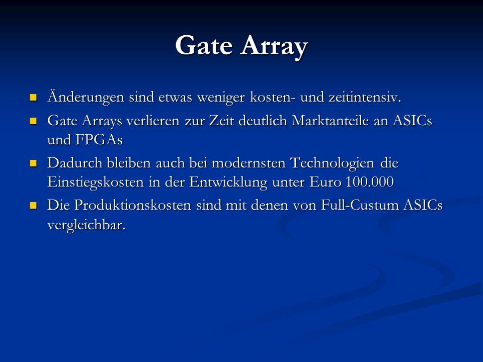 Gate Array Änderungen sind etwas weniger kosten- und zeitintensiv.