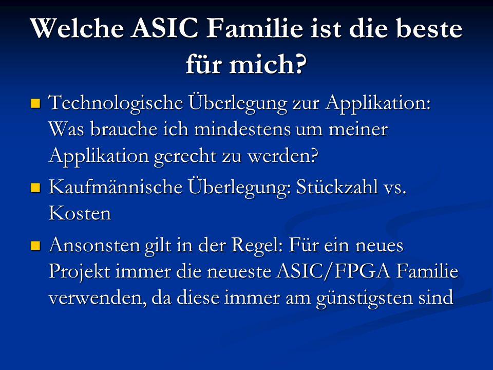 Welche ASIC Familie ist die beste für mich