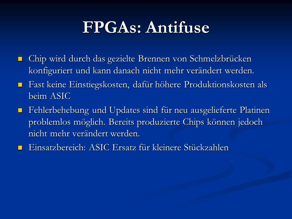 FPGAs: Antifuse Chip wird durch das gezielte Brennen von Schmelzbrücken konfiguriert und kann danach nicht mehr verändert werden.