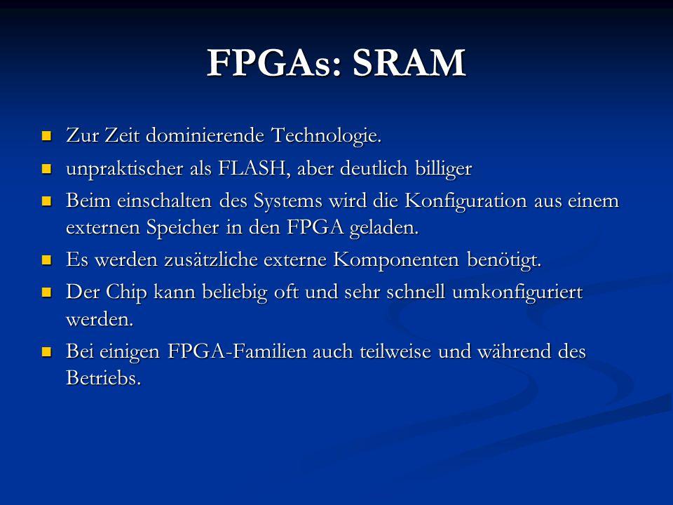 FPGAs: SRAM Zur Zeit dominierende Technologie.