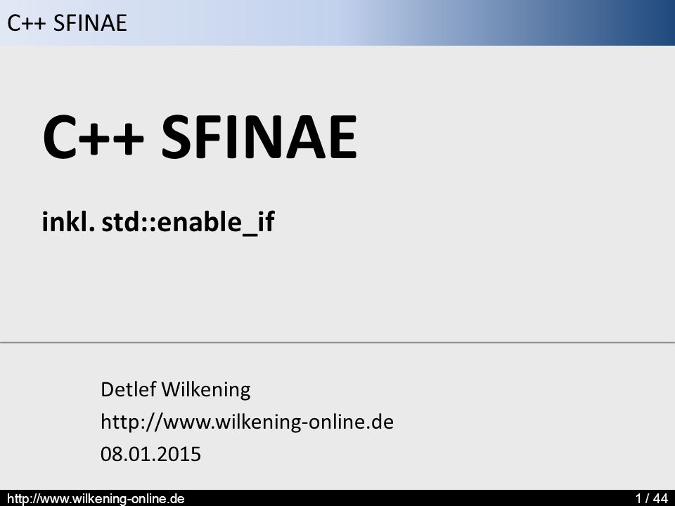 C++ SFINAE inkl. std::enable_if
