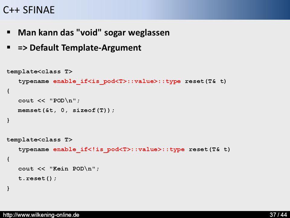 Man kann das void sogar weglassen => Default Template-Argument