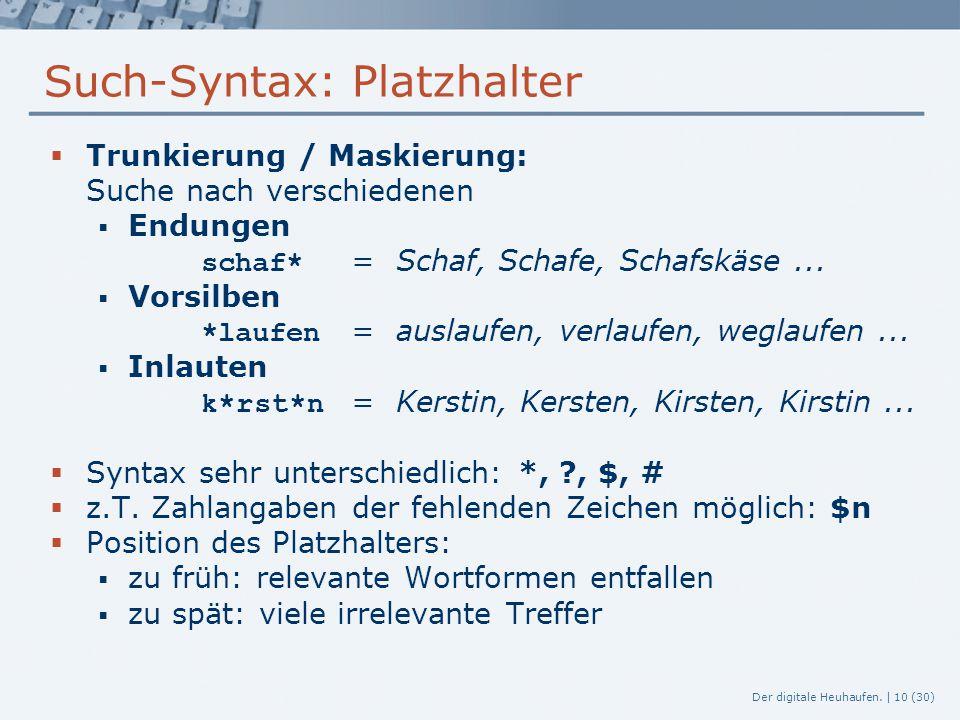 Such-Syntax: Platzhalter