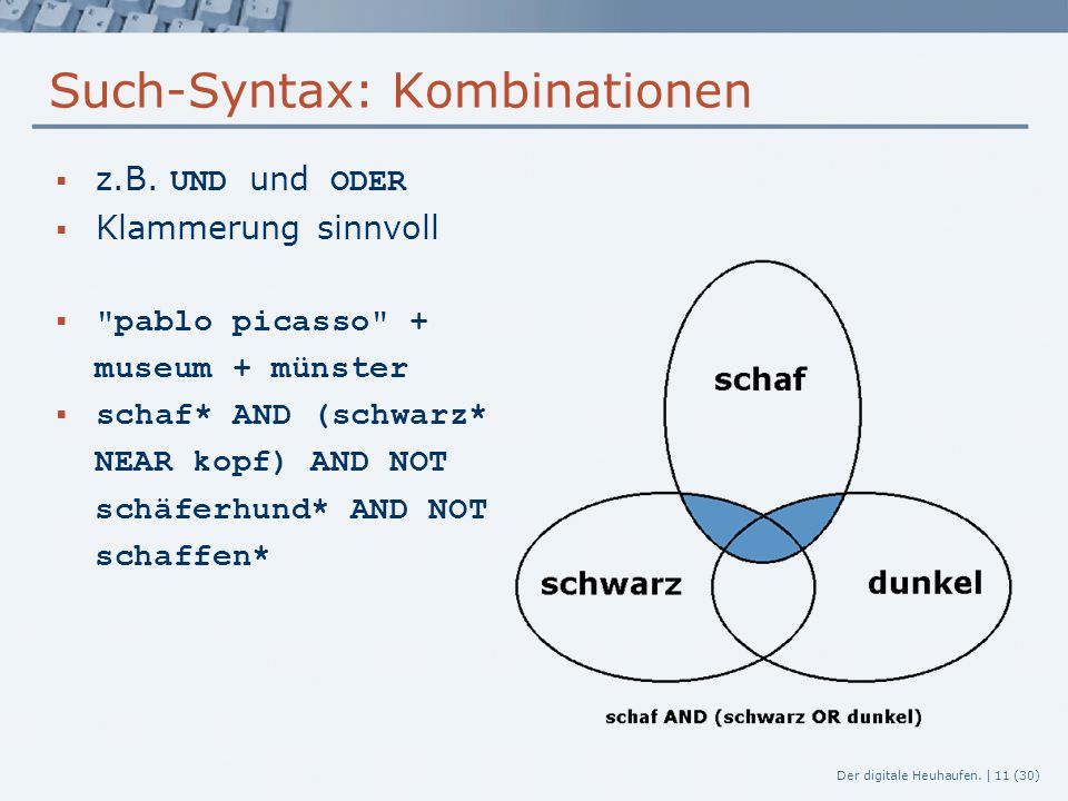 Such-Syntax: Kombinationen