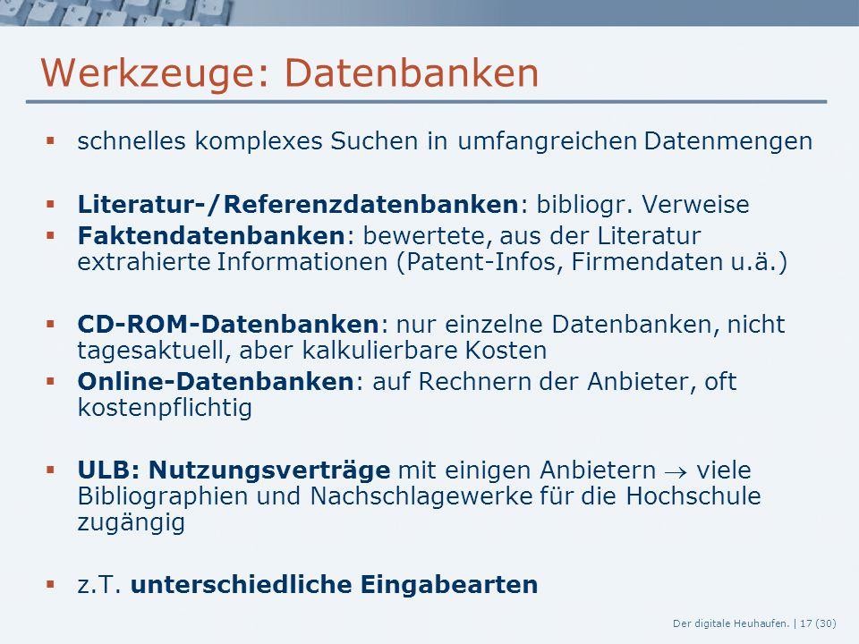 Werkzeuge: Datenbanken