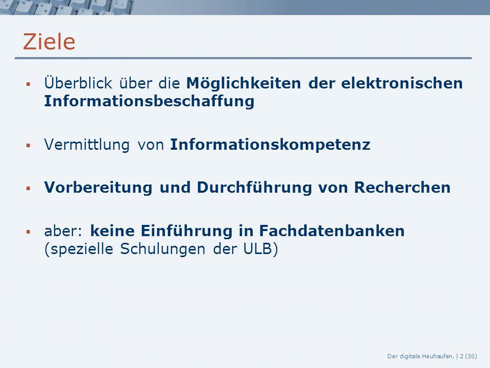 Ziele Überblick über die Möglichkeiten der elektronischen Informationsbeschaffung. Vermittlung von Informationskompetenz.
