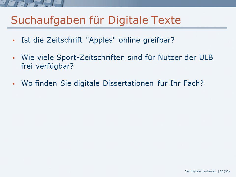 Suchaufgaben für Digitale Texte