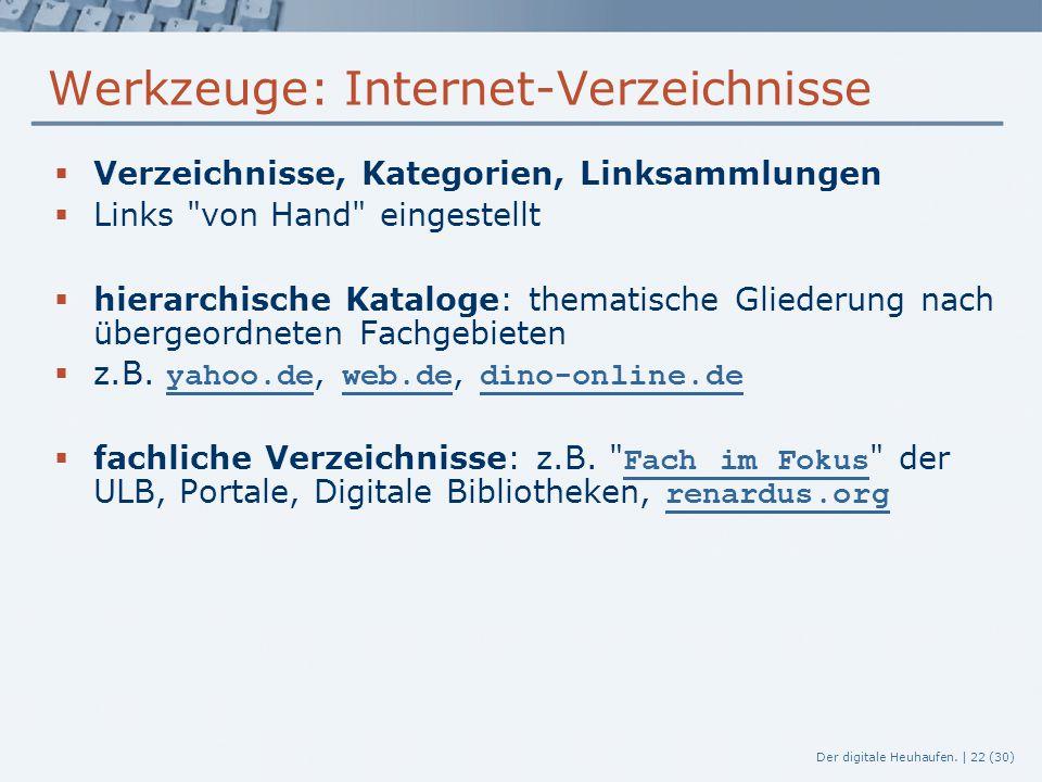Werkzeuge: Internet-Verzeichnisse