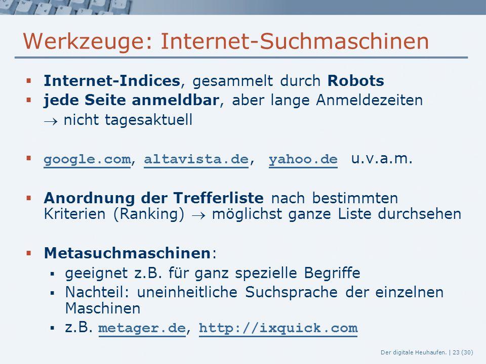 Werkzeuge: Internet-Suchmaschinen