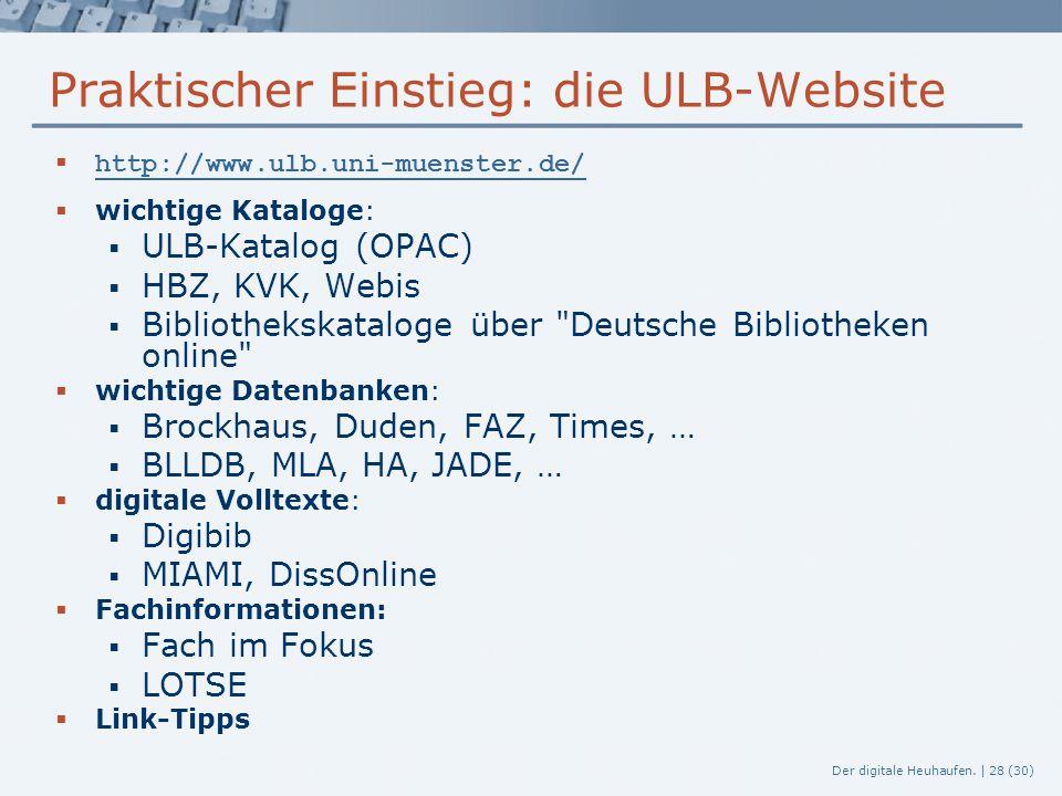 Praktischer Einstieg: die ULB-Website