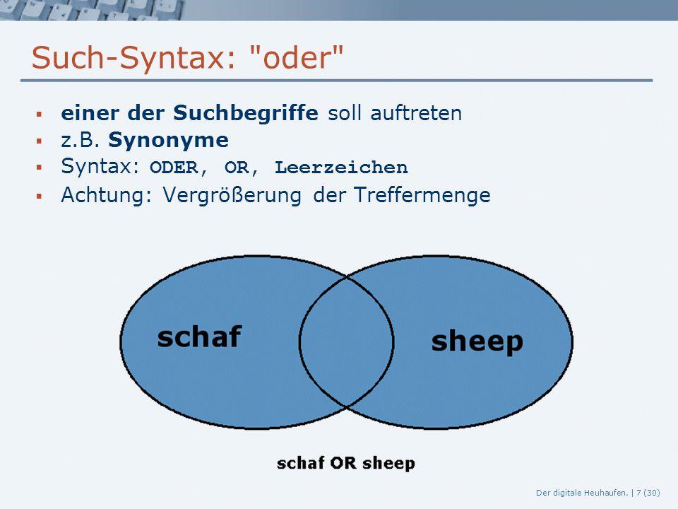 Such-Syntax: oder einer der Suchbegriffe soll auftreten