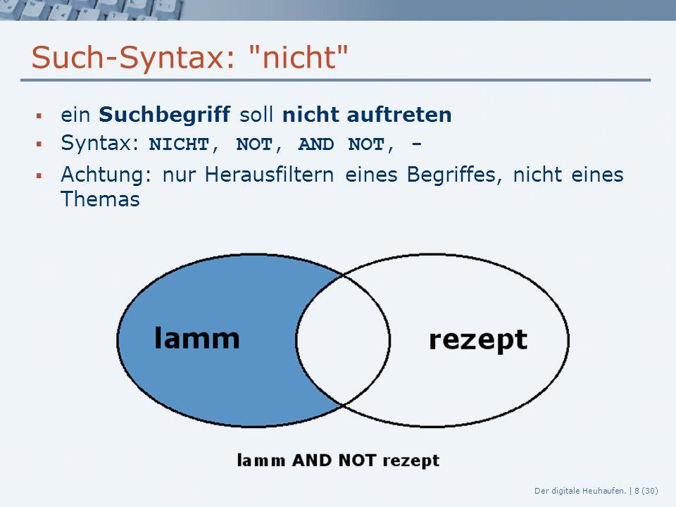 Such-Syntax: nicht ein Suchbegriff soll nicht auftreten