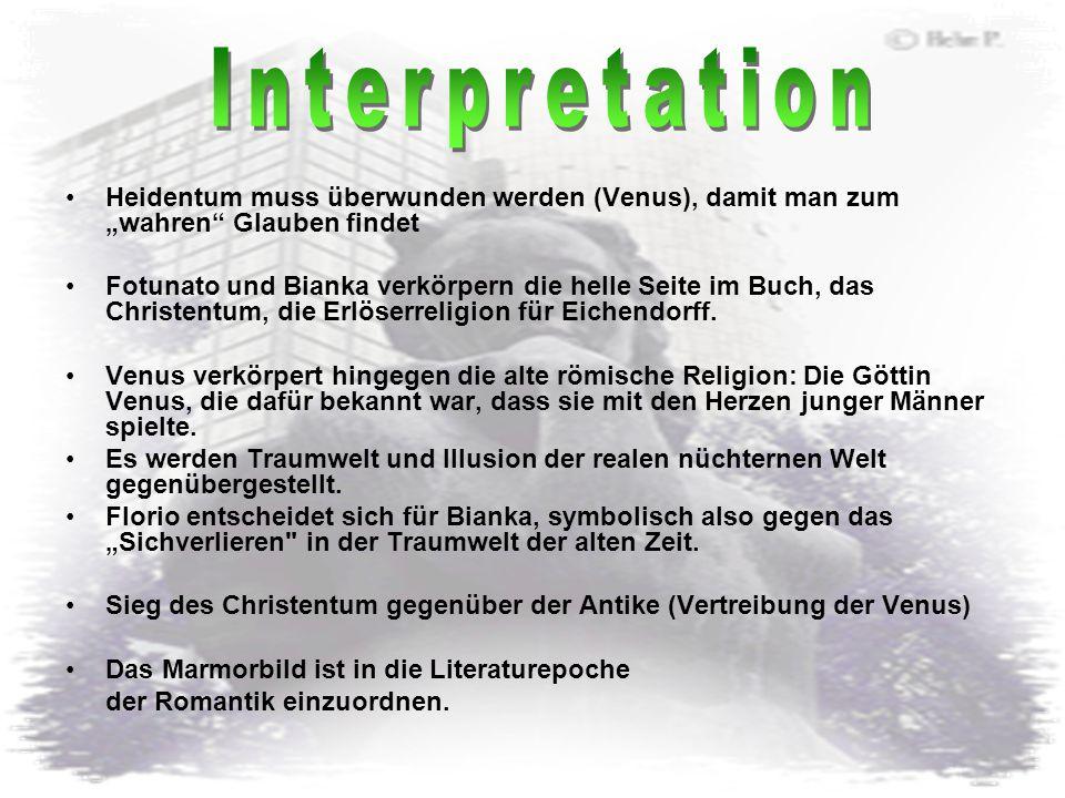 """Interpretation Heidentum muss überwunden werden (Venus), damit man zum """"wahren Glauben findet."""